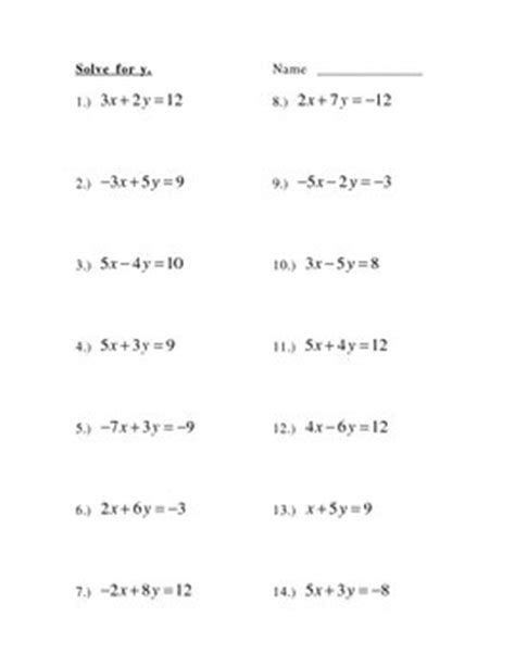 Solve For Y, Slope Intercept Form by Betty Watson   TpT