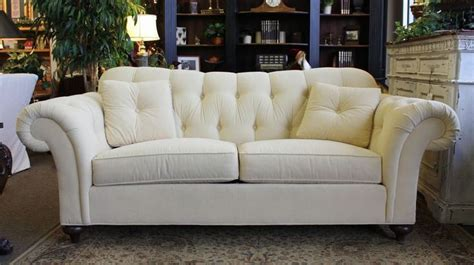 Ethan Allen Sofa 2 Cushion by Ethan Allen Buttery Colored Tufted Sofa With 2