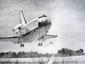 """""""Atlantis space shuttle landing - drawing"""" Drawing art ..."""