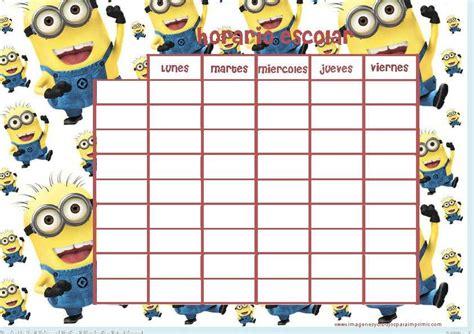 horario escolar con fondo de minions imprimibles horario escolar horario y minions
