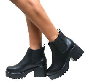 womens chelsea boots nz womens chelsea ankle boots chunky cleated platform sole block heel shoes ebay