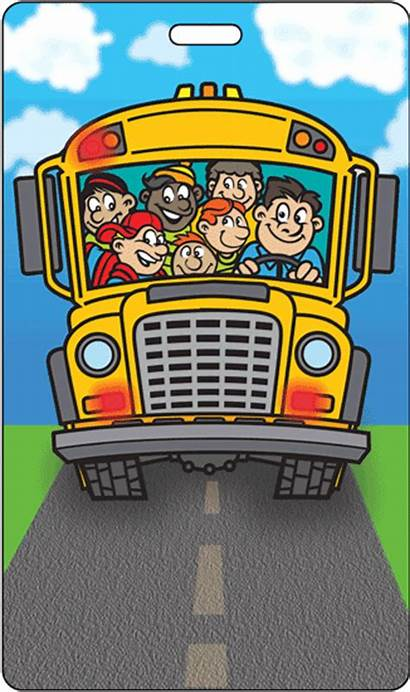 Bus Cartoon Tag Kid Animation Lenticular Luggage
