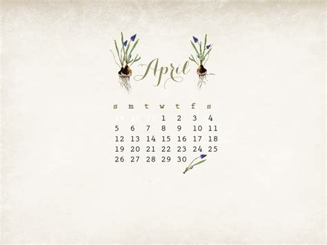 april free watercolor desktop calendar