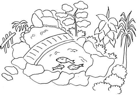 gambar mewarnai taman dengan kolam ikan belajarmewarnai info