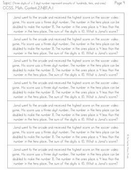 2nd grade place value word problem worksheets 2nd grade common core word problems place value by the teacher wears prada