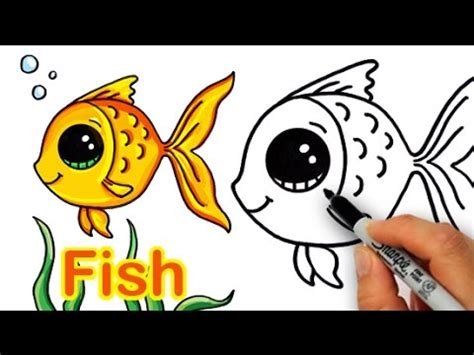 draw  cartoon fish cute  easy youtube