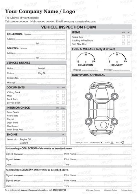 vehicle inspection sheet template vehicle inspection poc pod form personalised duplicate pads