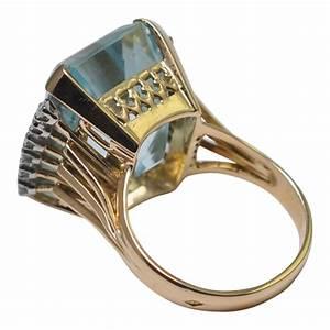 United States Ring Size Chart Aquamarine Diamond Gold Cocktail Ring Plaza Jewellery