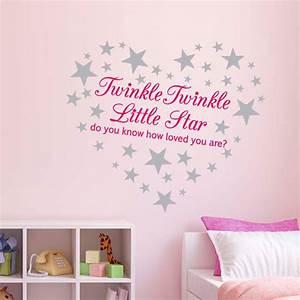 pink twinkle twinkle little star wall sticker nursery With good look silver star wall decals