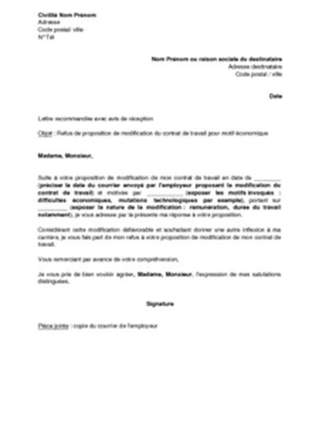 Modification Contrat De Travail Acceptation Tacite by Exemple Gratuit De Lettre Refus Par Salari 233 Modification