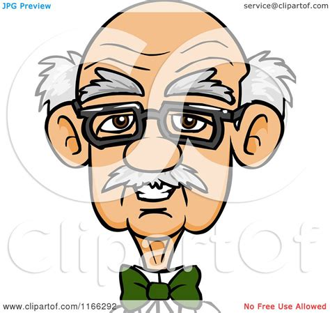 Cartoon Of A Bespectacled Old Man Avatar Royalty Free
