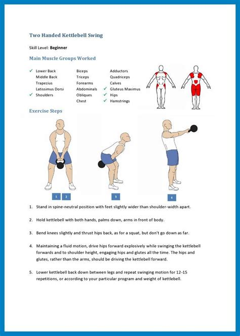 kettlebell exercises swing worked handed intermediate weight beginner muscle swings pdf