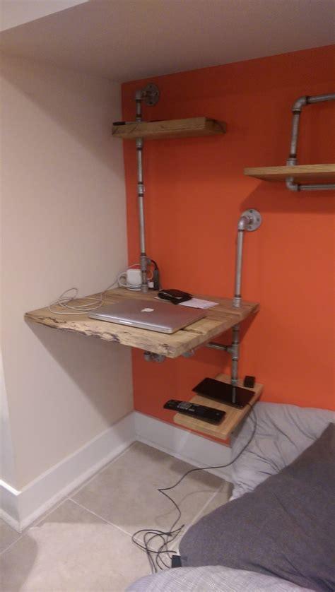 hanging wall desk  plumbing pipe desks walls  pipes