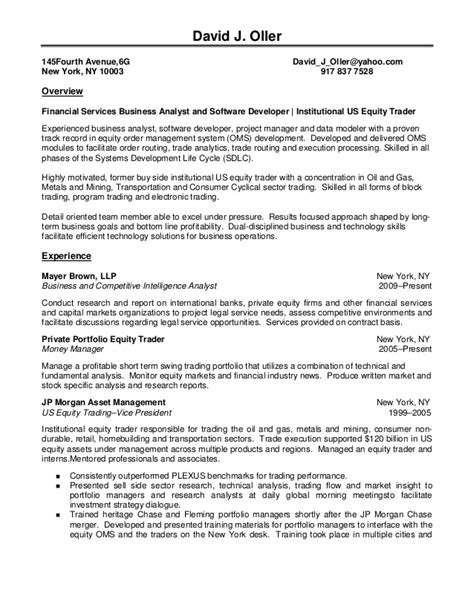 Equity Trader Summary Resume by David J Oller Resume