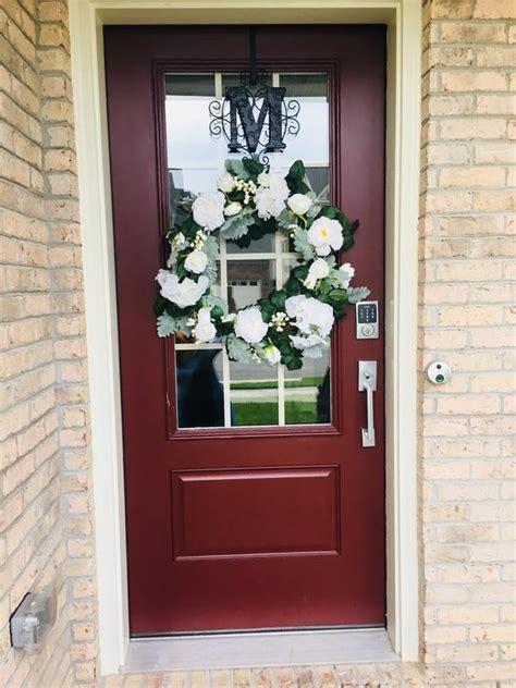 personalized  monogram initial   door wreath hanger scroll  design