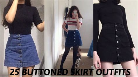 buttoned skirt tumblr outfits youtube
