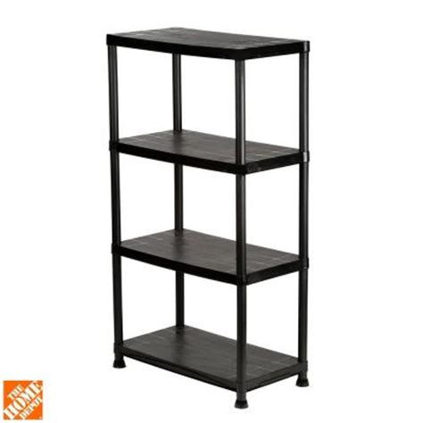 hdx 4 shelf 15 in d x 28 in w x 52 in h black plastic