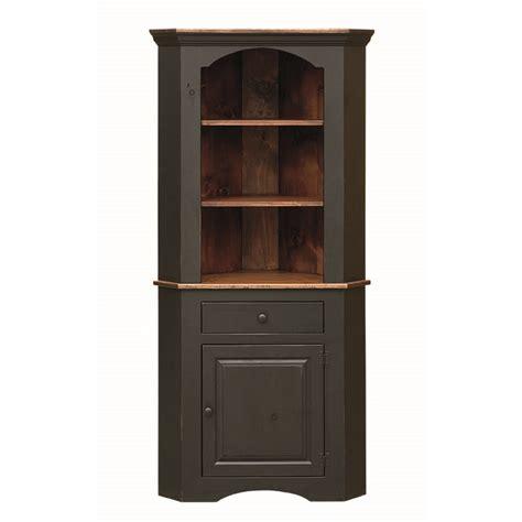 Black Corner Cupboard by Pine Corner Cupboard Amish Pine Corner Cupboard