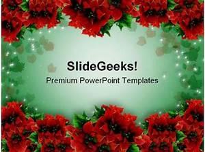 Poinsettias Christmas Garland Background Powerpoint