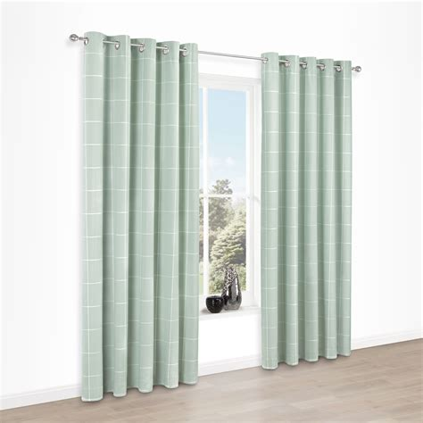mint curtain panels carrie mint check jacquard eyelet lined curtains w 117 cm
