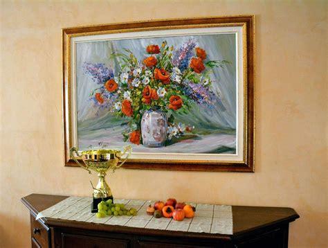 quadri con cornice dipinto ad olio con cornice in legno laccata oro vaso di