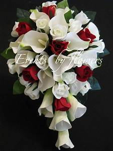 Red roses white calla lily wedding bouquet flowers set