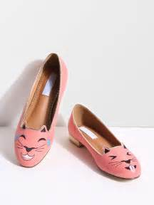 cat shoes flats pink cat embroidery ballet flats