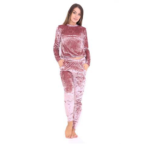 Womens Round Neck Velour Jogging Cotton Comfortable Top Bottom Suit Tracksuit   eBay