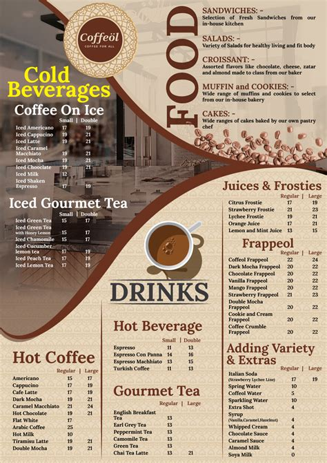 The ampersand exclusive hot and cold coffee menu is based on our high quality 100% arabica coffee. Elegant, Modern, Coffee Shop Menu Design for Caffeine by ...