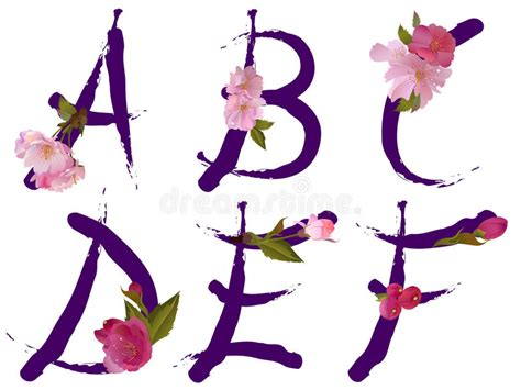 vector alphabet with gentle flowers letters alphabet with flowers letters a b c d e f stock 15369
