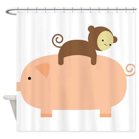 monkey shower curtain baby monkey shower curtain by babymonkeyridingbackwardsonapig