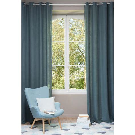 rideau chambre bebe fille rideau à œillets en lavé bleu pétrole 130 x 300 cm