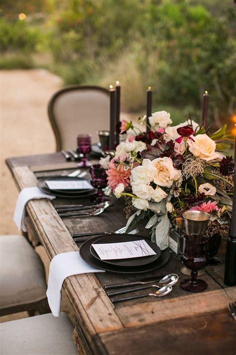moody rustic tablescape aubergine blush