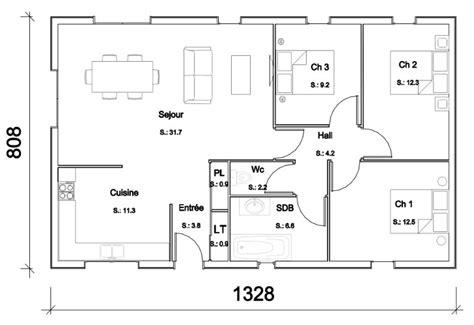 plan de maison 3 chambres salon modele maison manuella becokit maisons ossature bois