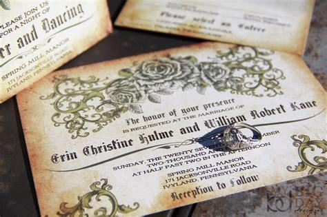 Vintage Romantic Rose Wedding Invitations. Antique Parchment