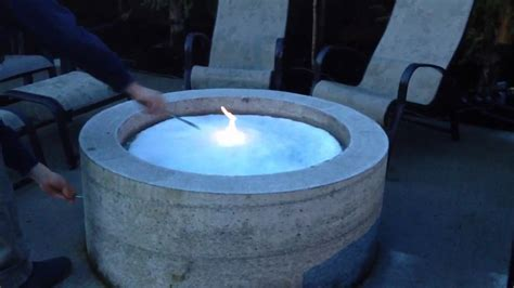 gas pit images lighting the natural gas fire pit with a layer of snow on it youtube