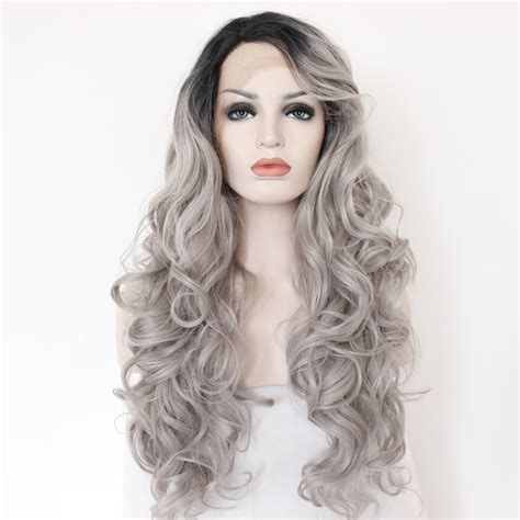 Ombre Silver Grey Body Wave Synthetic Lace Front Wig