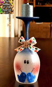 the keeper of the cheerios snowman wine glass candle holder diy christmas ideas pinterest