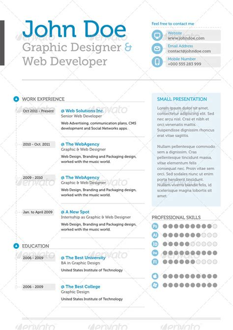 clean professional resume by fpcollective graphicriver
