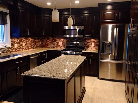 Can anyone recommend a stain color that wou. Dark cherry cabinets, granite countertops with light tile ...