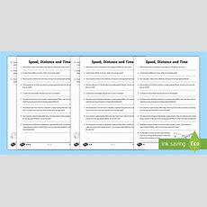 * New * Speed, Distance, Time Differentiated Worksheets