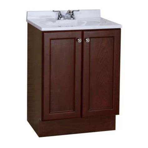 Glacier Bay Bathroom Vanity With Top by Glacier Bay All In One 24 In W Vanity Combo In Chestnut