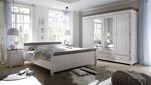 Schlafzimmer Set OSLO In Kiefer Massiv Wei Und Lava