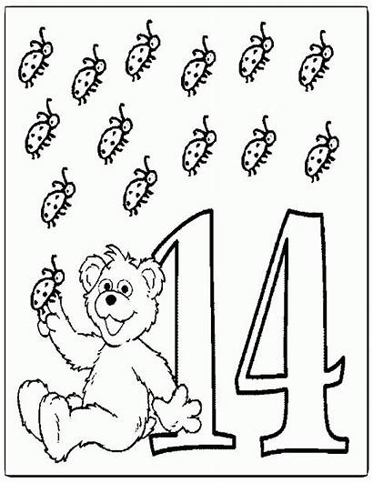 Coloring Number Pages Clipart Colouring Fourteen Popular