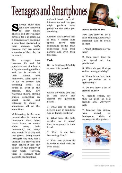 teenagers  smartphones english esl worksheets