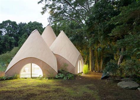 teepee shaped home complex   mountains  japan