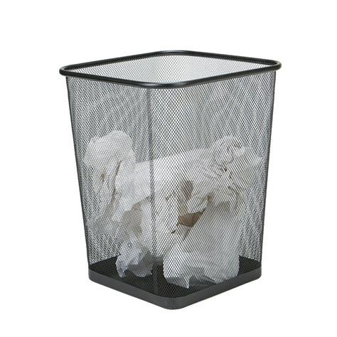 mind reader  piece black metal mesh garbage waste basket recycling bin set squaga blk