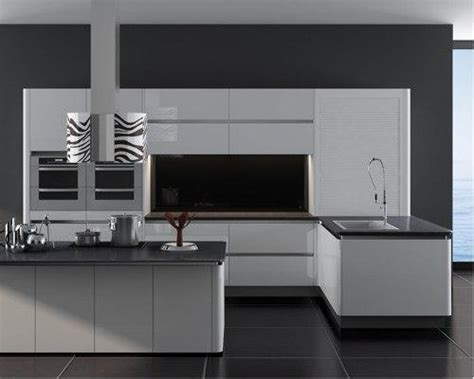 European Style Modern High Gloss Kitchen Cabinets Grey