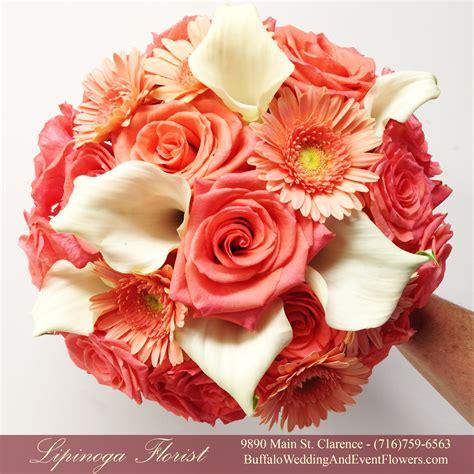 coral orange peach bridal bouquets buffalo wedding