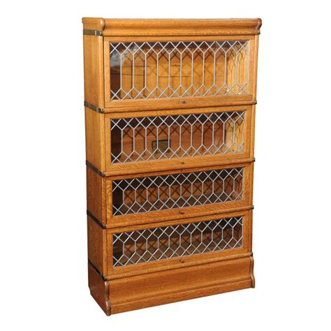 Oak Bookcases With Glass Doors by Four Section Oak Lawyer S Bookcase With Leaded Glass Doors